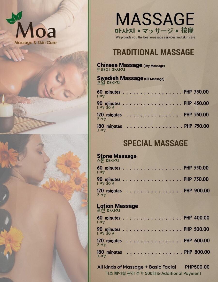 英語漬けの留学生活「Moa Massage」で癒されましょう